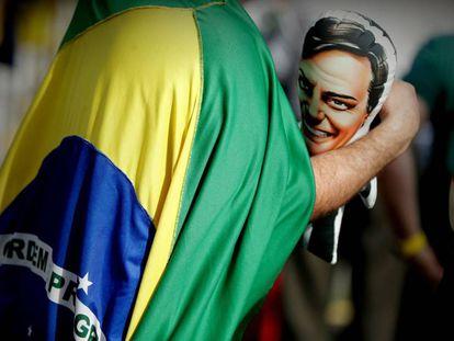 Seguidores del ultraderechista Jair Bolsonaro el domingo 16 de septiembre de 2018 en Sao Paulo (Brasil)