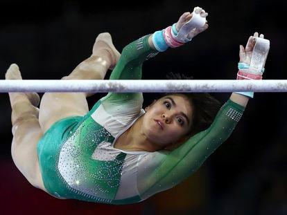 La gimnasta Alexa Moreno durante el campeonato mundial de gimnasia en Stuttgart (Alemania), en 2019.