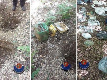 Imagenes de archivo de la Policía vasca con el material encontrado en el depósito ilegal.