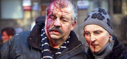 Dos heridos en los disturbios, el martes en Kiev.