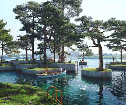 Islas flotantes diseñadas por Studio Fokstrot y Marshall Blecher.