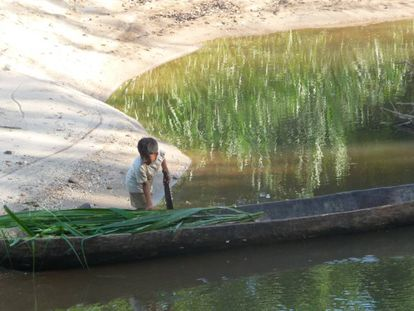 Un niño Shuar trabaja con una canoa.