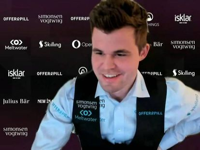 Magnus Carlsen, durante una de las partidas del torneo por internet New in Chess