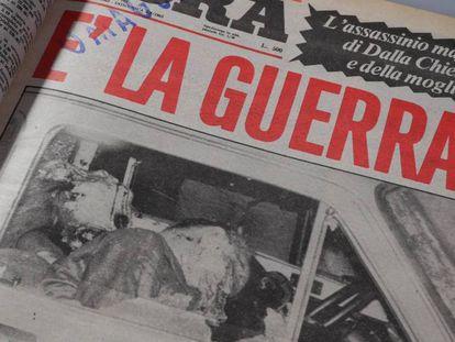Portada del diario siciliano L'Ora en la que se recoge el asesinato del general antimafia Alberto Dalla Chiesa y su esposa en 1982