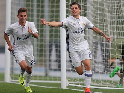 Franchu Feuillassier celebra un gol en el Real Madrid B.