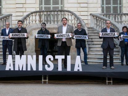 Acto organizado por Omnium Cultural en el que participaron Oriol Junqueras, Jordi Cuixart, Jordi Sánchez, Quim Forn, Carme Forcadell, Dolors Bassa, Raul Romeva, Jordi Turull y Josep Rull.