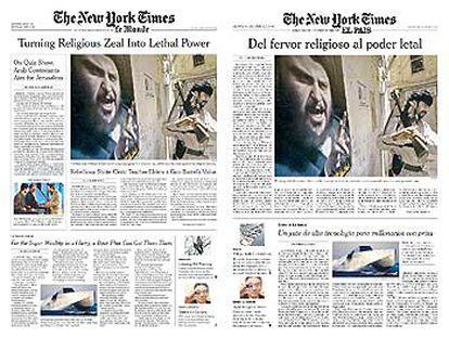 Reproducción de la portada del último suplemento de <i>The New York Times</i> en <i>Le Monde </i>y la versión de prueba de  EL PAÍS.