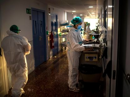 Una zona con pacientes ingresados por coronavirus del hospital del Mar en Barcelona.
