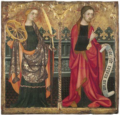 Compartimentos de la predela de Santa Catalina de Alexandría y Jesucristo de Lluís Borrassà.