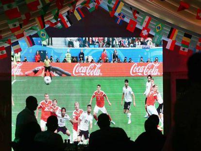 Emisión de un partido del Mundial de fútbol de Rusia.