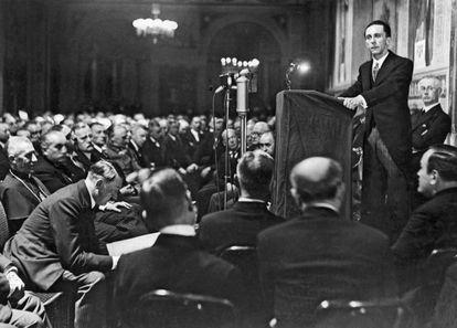 El ministro de propaganda de Hitler, Joseph Goebbels, durante un discurso.