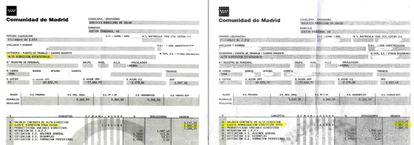Comparativa de las dos nóminas de diciembre del alto cargo del Marañón.