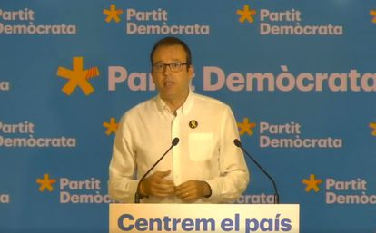 El portavoz del PDeCAT, Marc Solsona, en una rueda de prensa este lunes tras la reunión ejecutiva del partido el pasado lunes.