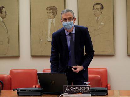 Pablo Hernández de Cos, gobernador del Banco de España, este miércoles en la Comisión de Presupuestos del Congreso.