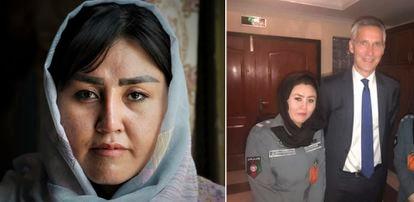 Razia Hakimi, retratada estos días en Islamabad y, a la derecha, en 2018 en Kabul, junto al secretario general de la OTAN, Jens Stoltenberg.