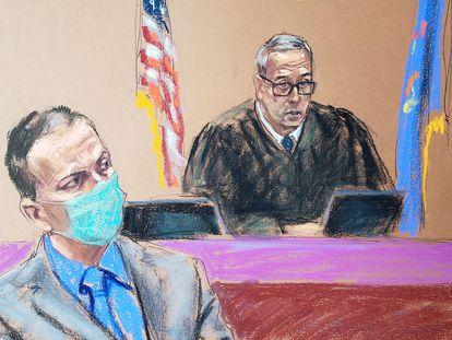 El juez Peter Cahill se dirige al jurado durante el juicio a Derek Chauvin por el asesinato de George Floyd.