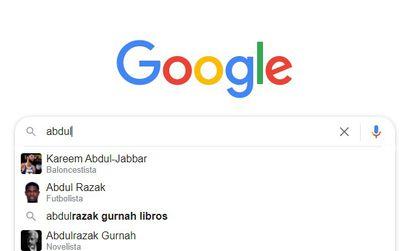Captura de pantalla de los resultados que arroja Google al escribir 'abdul', las primeras cinco letras del nombre del premio Nobel de Literatura 2021.