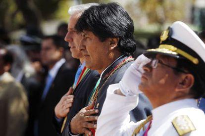 Evo Morales, este domingo en un acto en La Paz, Bolivia.