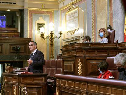 El líder del PSOE de Murcia, Diego Conesa, durante su intervención este martes en el Congreso de los Diputados en defensa del nuevo Estatuto de la región.