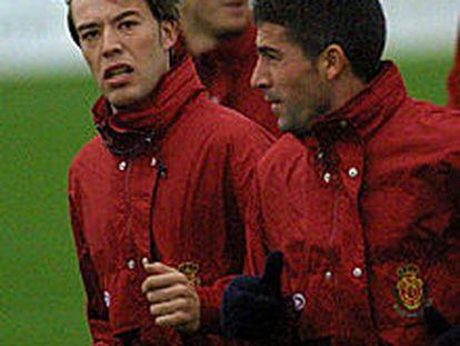 Losada, a la izquierda, en un entrenamiento del Mallorca.