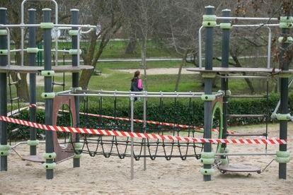 El parque de La Araña cerrado, en San Sebastián de Los Reyes.