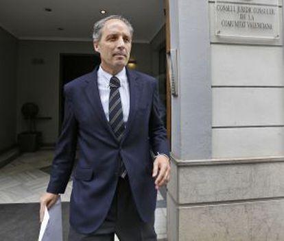 Francisco Camps sale hoy de la sede del Consejo Jurídico Consultivo en Valencia