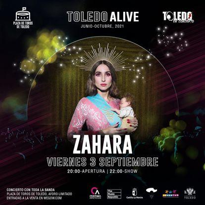 Cartel publicitario del concierto de Zahara en Toledo.
