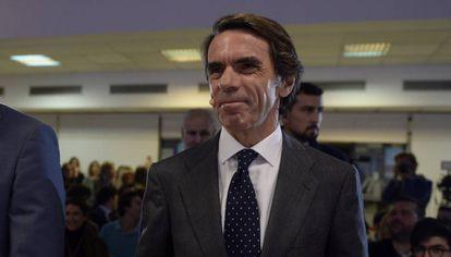 El expresidente del Gobierno José María Aznar llega a la Universidad Francisco de Victoria para dar una charla sobre liderazgo.