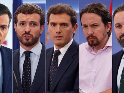 De izquierda a derecha, Pedro Sánchez (PSOE), Pablo Casado (PP), Albert Rivera (Ciudadanos), Pablo Iglesias (UP) y Santiago Abascal (Vox).