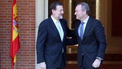 Mariano Rajoy recibe a Alberto Fabra en La Moncloa.