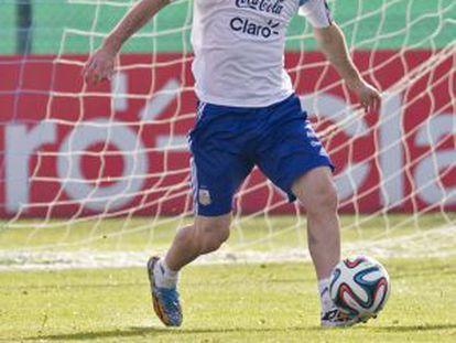Messi, durante el entrenamiento de ayer.