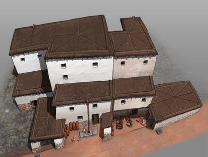 Reconstrucción digital de vivienda íbera del poblado del cerro de la Cruz (Almedinilla, Córdoba).