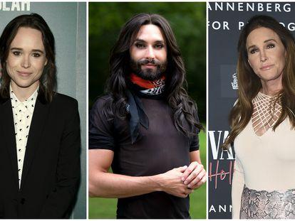 Desde la izquierda: Elliot Page, Conchita Wurst y Caitlyn Jenner.