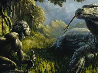 Uns recreación del 'Homo floresiensis' enfrentándose a un lagarto gigante.