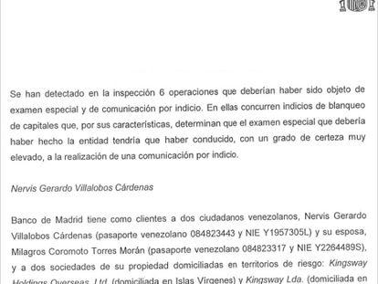 Fragmento del informe del Sepblac sobre Banco Madrid.