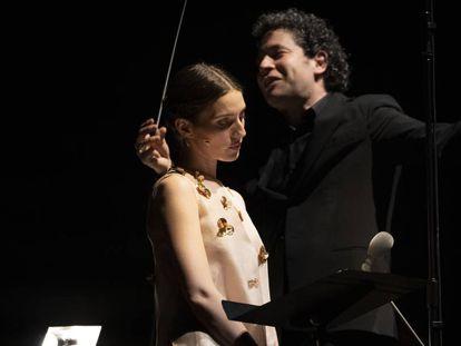 María Valverde y Gustavo Dudamel, en su actuación el sábado en Peralada.