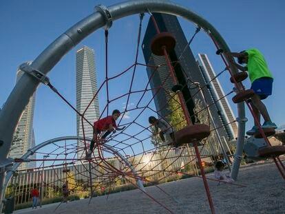 El Parque Caleido, al Norte del Paseo de la Castellana, este martes por la tarde.