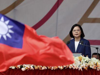La presidenta, Tsai Ing Wen, durante su discurso en las celebraciones del Día Nacional de Taiwán el pasado 10 de octubre.