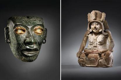 A la izquierda, la máscara teotihuacana y a la derecha, la estatua de la diosa Cihuatéotl.