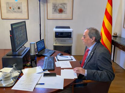 El presidente de la Generalitat, Quim Torra, durante la sexta videconferencia de presidentes autonómicos por el coronavirus  GENERALITAT DE CATALUNYA 19/04/2020
