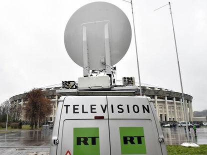 Una furgoneta del canal de televisión RT en Rusia el pasado noviembre.