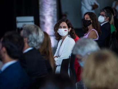 Isabel Ayuso, presidenta de la Comunidad de Madrid, en la presentación de la Oficina del Español y el próximo festival de la Hispanidad 2021.