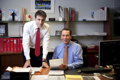 El consejero delegado de Toyota en España, Jacques Pieraerts, y Diego Villena