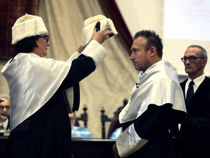 El artista Miquel Barceló, investido 'honoris causa' por la Universidad de Salamanca.