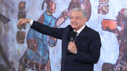 El presidente mexicano, Andrés Manuel López Obrador, durante una rueda de prensa matutina en el Palacio Nacional de la Ciudad de México.