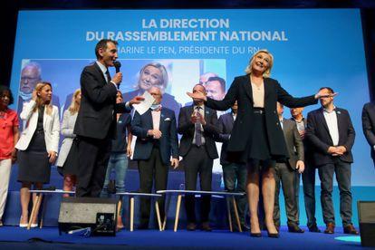 La ultraderechista Marine Le Pen durante el congreso de su partido, Reagrupamiento Nacional, este domingo en Perpiñán.