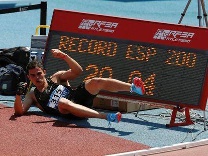 Bruno Hortelano, el domingo, tras batir el récord de España de 200m.