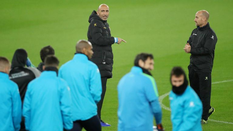 El entrenador del Espanyol, Abelardo, en un entrenamiento.