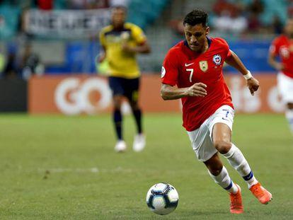 Alexis Sánchez, en el partido de Chile ante Ecuador.