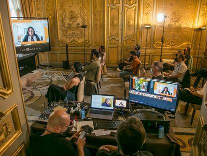 Un momento del curso de 'showrunners' impartido dentro del festival Iberseries Platino Industria los pasados martes y miércoles en Casa de América de Madrid.